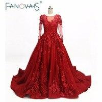 Burgundy Prom Dresses 2018 Long Sleeves Evening Gowns Luxury Evening Dresses Vestido De Festa Robe De