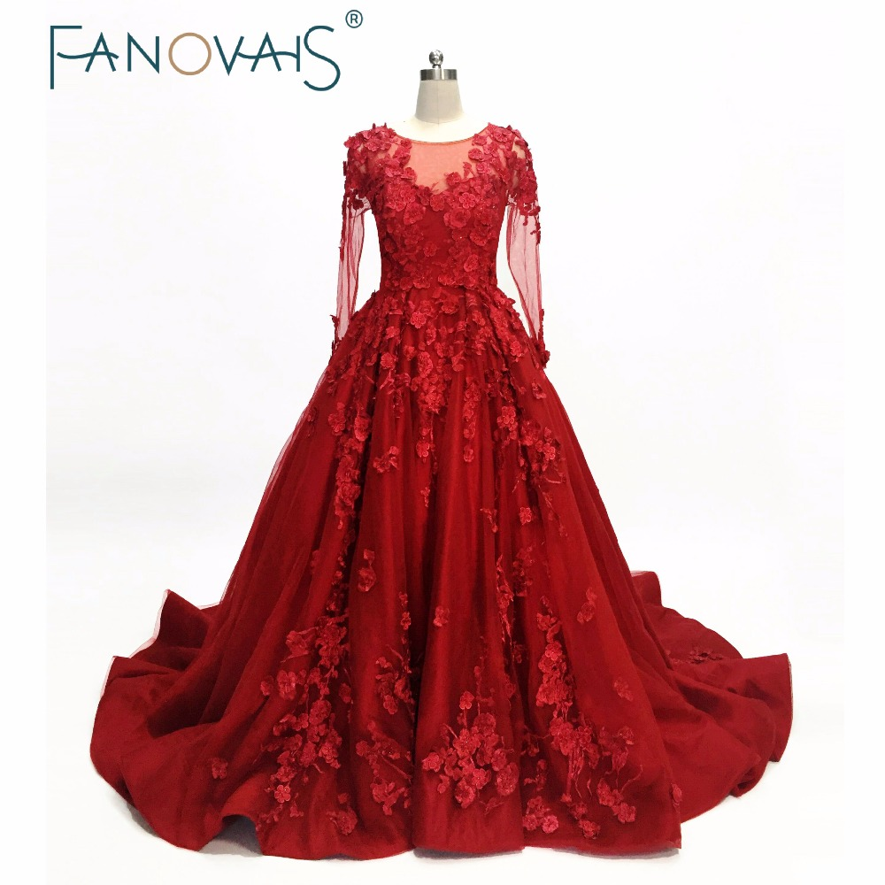 Burgundy   Prom     Dresses   2019 Long Sleeves Evening Gowns Luxury Evening   Dresses   Vestido de festa robe de soiree   prom   party gowns