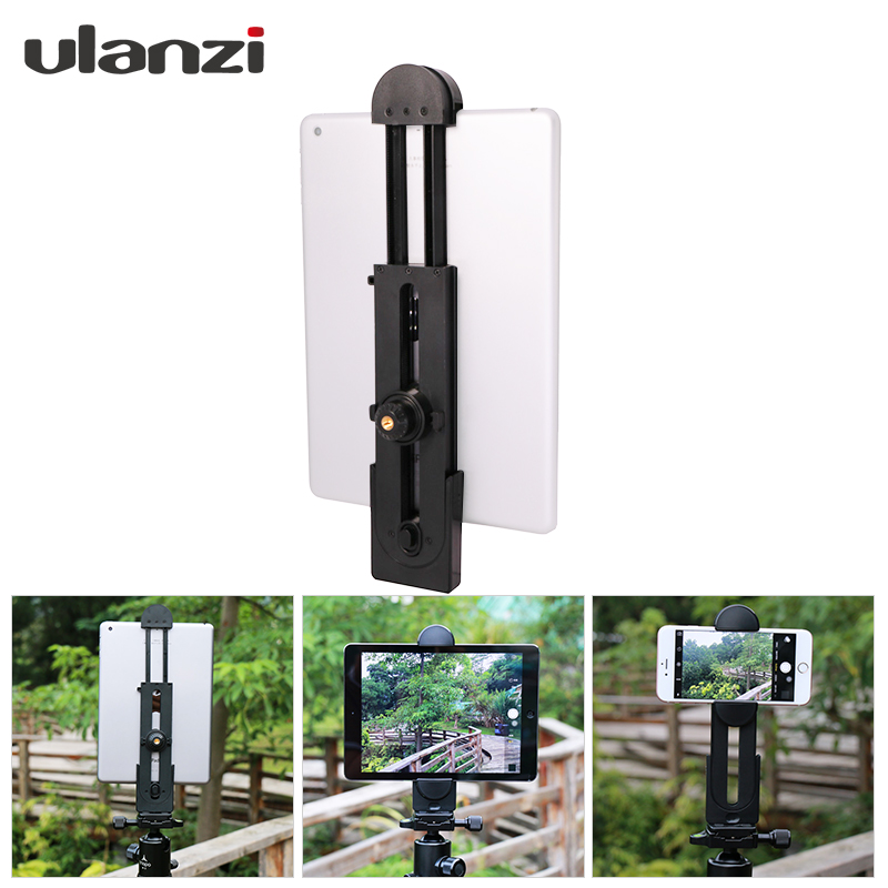 Ulanzi Tripod Mount Adapter Tablet Clamp Holder for  iPad/iPad Mini/iPad Air,Most Tablets, 5-12inch size ,with 1/4-20 thread universal cell phone holder mount bracket adapter clip for camera tripod telescope adapter model c