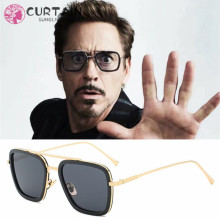 Tony Stark Sunglasses Men Avengers Iron Man Square Retro Gradient Transparent Glasses Robert Downey Jr Goggles