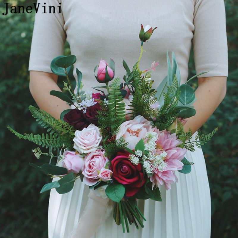 JaneVini Romantic Wedding Flowers Bridal Bouquets Artificial Silk Roses Peonies Fake Bouquet Pink Flowers Bouquet Fleur Mariage