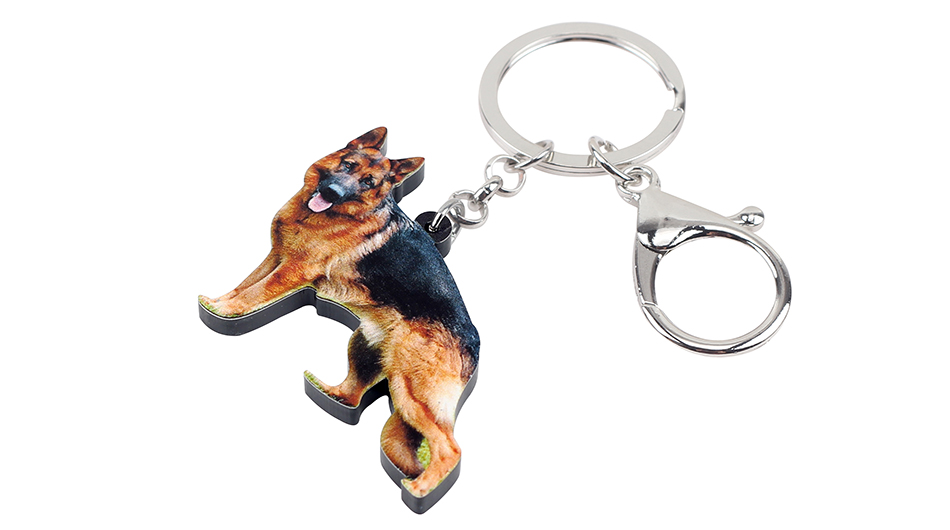 Bonsny Acrylic German Shepherd Dog Key Chain Keychain Ring Fashion Animal Jewelry For Women Girls Pet Lovers Car Bag Charms Gift