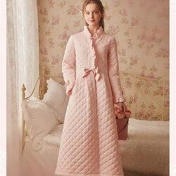 Зимний халат, одежда для сна, Женский хлопковый длинный халат, Женская винтажная одежда для сна, домашняя одежда, ночная рубашка, халаты высо...