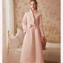 Kış elbise pijama bayanlar pamuk uzun elbise kadınlar Vintage pijama kadın uyku gecelik tesisat gecelik elbiseler yüksek kalite