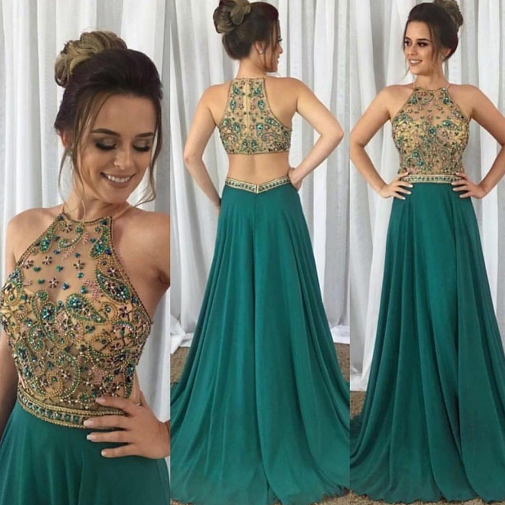 Sexy Prom Dresses 2020 Crystal Beaded Beading Halter Neck A Line Chiffon Green Evening Dresses Gowns Arabic