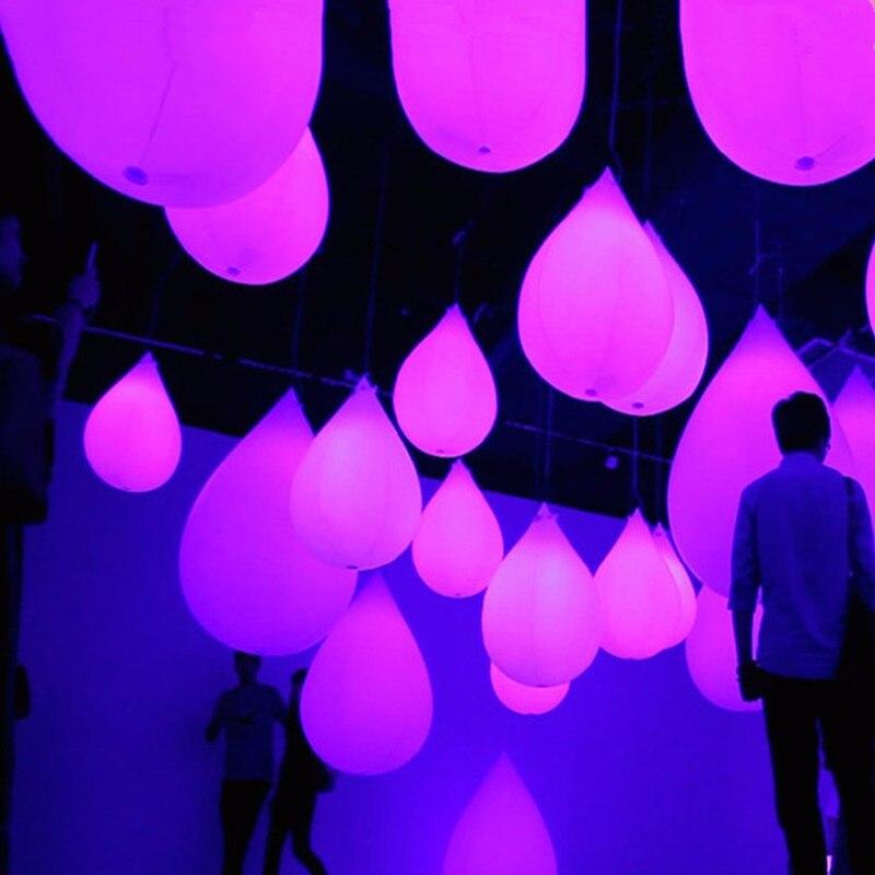 5 pièces drôle PVC gonflable ballon LED tactile Infection décoloration progressive gouttelettes d'eau forme pendaison décor ballon lumineux LED