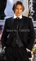 Hot fashion Men Suits Black Groom Tuxedos Best Man Suits Groomsmen 2014 Men Wedding Suits (Jacket+Pants+Vest+Tie)Free Shipping