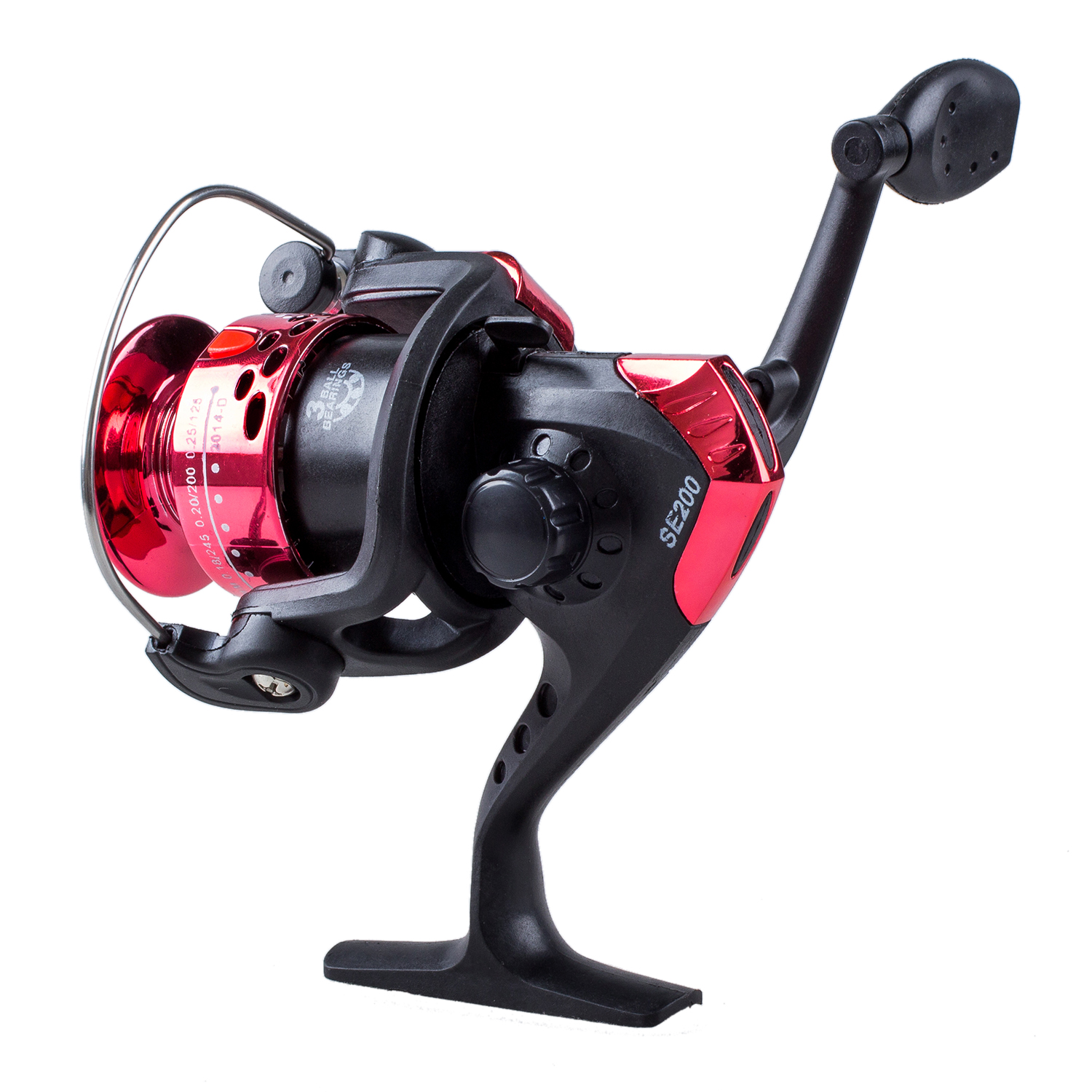 3BB Ball Bearings Left/Right Interchangeable Collapsible Handle Fishing Spinning Reel SE200 5.2:1 with High-tensile Gear (Red)