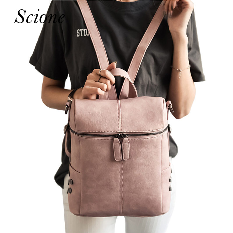 Fashion Brand Designer Women PU leather Backpack School Bags For Teenage Girls Vintage Lady Laptop Travel Rucksack mochila Li655 real cowhide genuine leather backpack women s bag vintage designer girls travel school bags famous brand female laptop rucksack