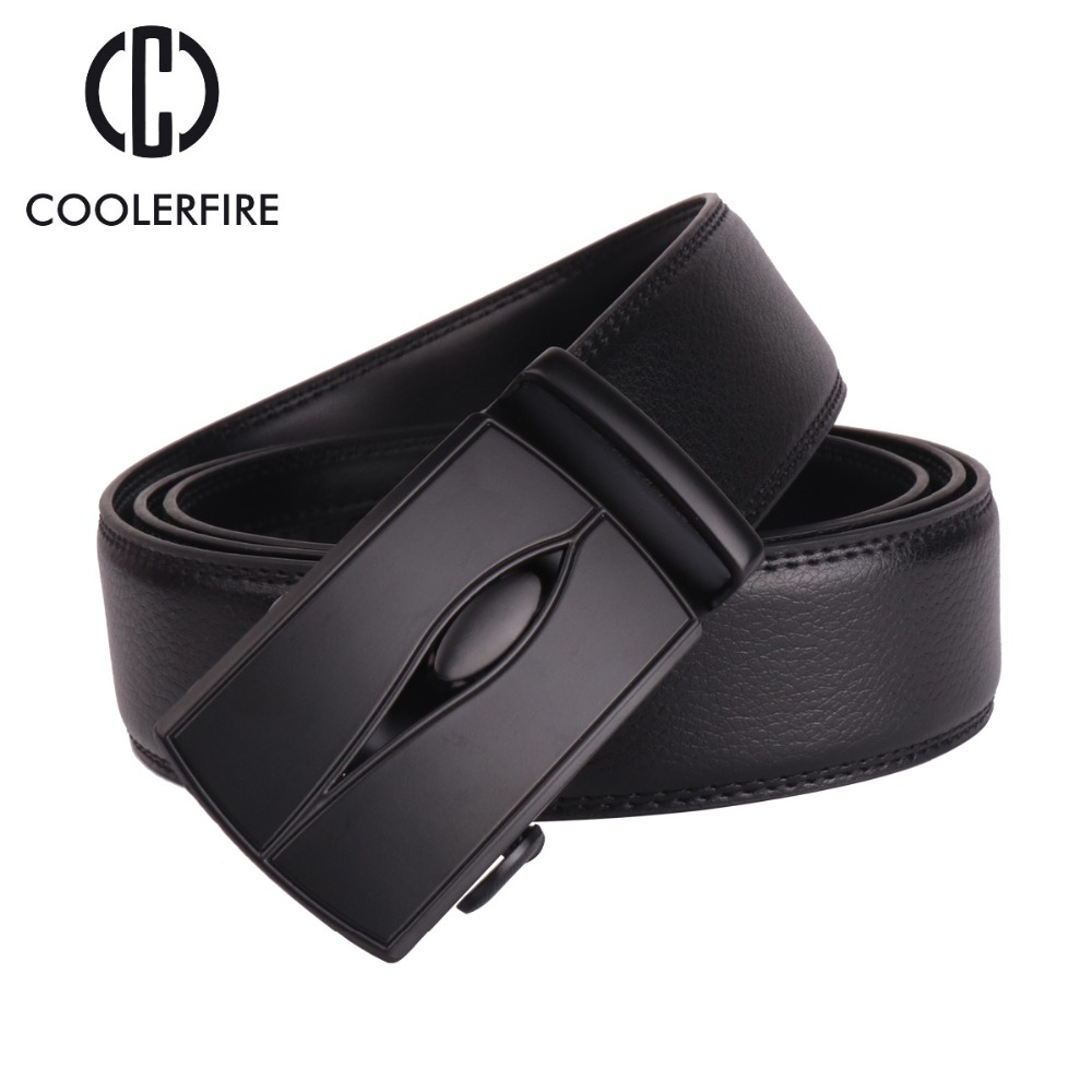 Coolerfire Good Mens Belt Luxury High Quality Cow Genuine Leather Belts For Men Automatic Buckle Fashion Waist Male ZD068