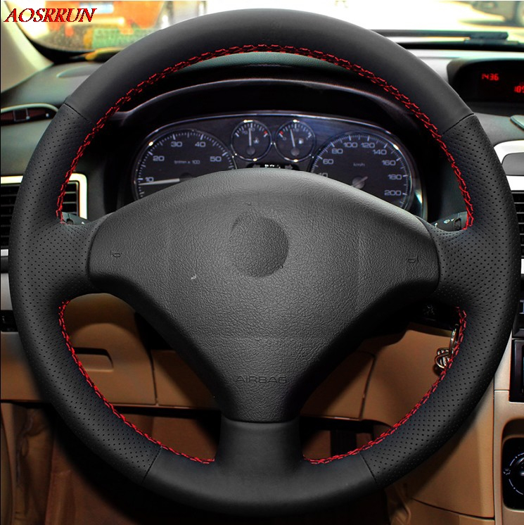 Sew-on genuine leather car steering wheel cover Car accessories For Peugeot 206 207 Citroen C2 car-styling Interior automobiles diameter 38cm carbon fiber car steering wheel cover for peugeot 206 2003 206 cc 2005 car styling