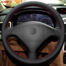 Шить-на натуральная кожа рулевого колеса автомобиля крышка автомобильные аксессуары для Peugeot 206 207 Citroen C2 автомобиль-Стайлинг подкладке автомобилей