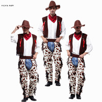 Adult Men Cowboy Cosplays Halloween Cowboy Costume Carnival Purim Festival parade Masquerade Nightclub Role play Bar party dress