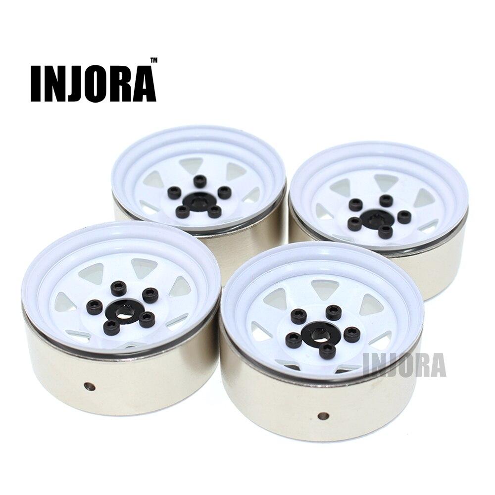 4 piezas RC Crawler 1:10 de Metal blanco de llanta de rueda de 1,9 pulgadas BEADLOCK para 1/10 Axial SCX10 TAMIYA CC01 D90 D110 traxxas TRX-4