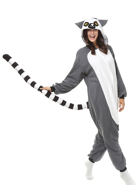 2ef0027f3b82 Animal Ring-tailed Lemur Cosplay Pajamas Adult Long Tail Monkey Onesies  Women Men Carnival Halloween Costume Jumpsuit Plus Size