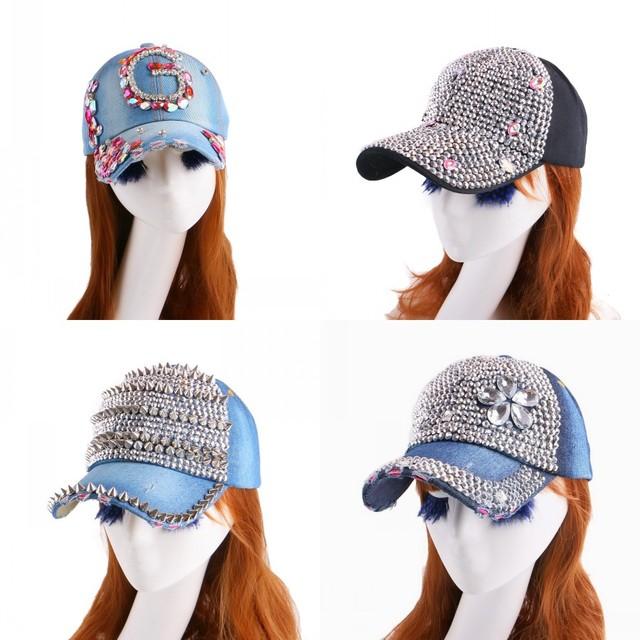 El último diseño del modelo de belleza de la corona en forma de cuentas de cristal bling rhinestone muchacha de las mujeres de lujo marca denim snapback sombreros gorras de béisbol