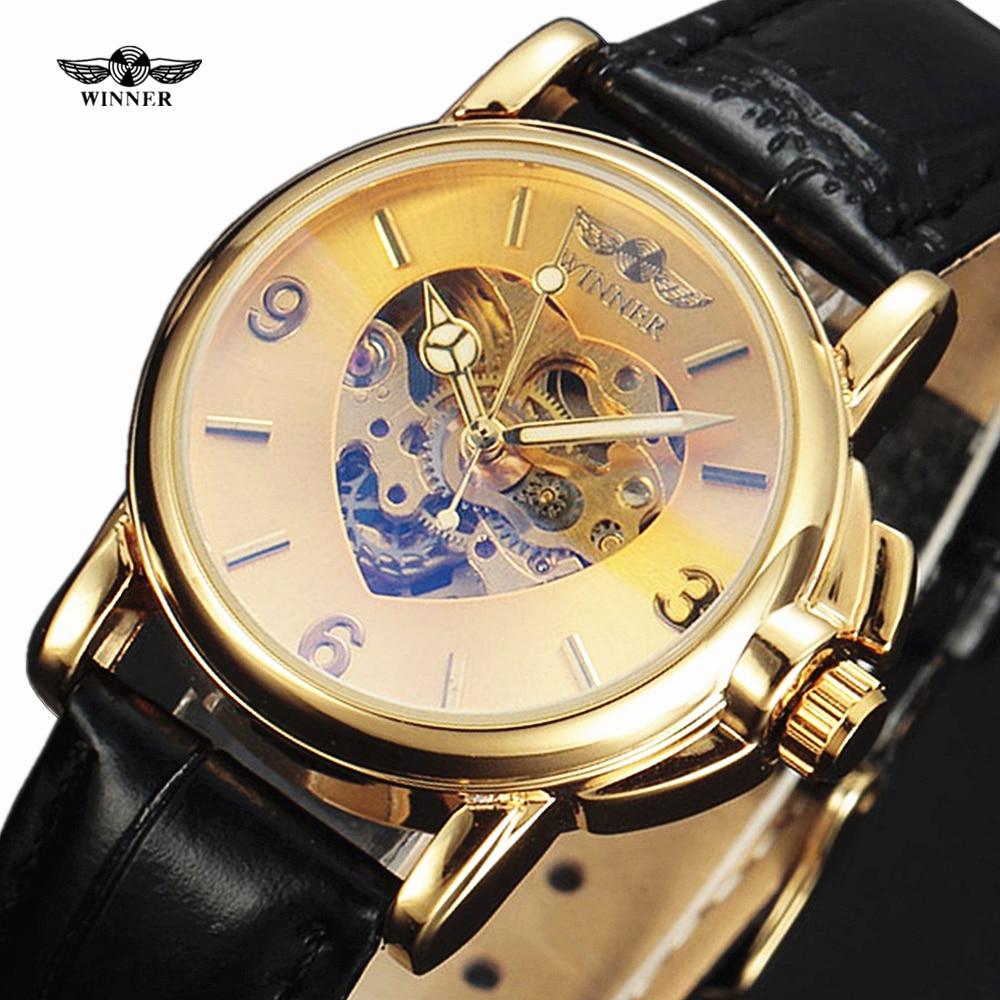 WINNER Luxusní zlaté skeletové hodinky Dámské móda srdce ve - Dámské hodinky