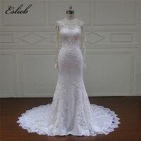 Eslieb High Quality Mermaid White Ivory Wedding Dresses Long Sleeve Bridal Gown Plus Size Wedding Dress