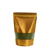 100pcs/lot 10*15cm Gold Stand Up Aluminum Foil Zip Lock Beans Bag Nut Poly Packaging Pouch Top Embossed Mylar Bags With Window