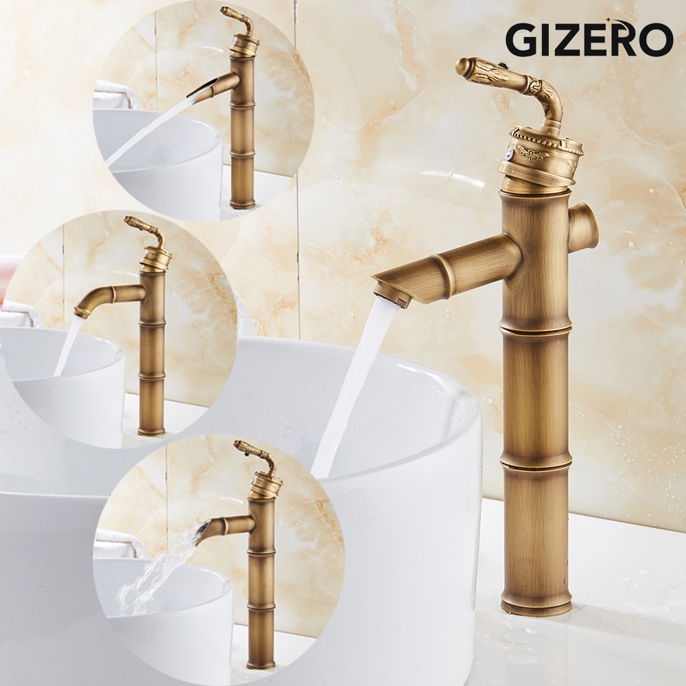 Bathroom Tall Basin Faucet Antique Brass Single Handle Basin Sink Mixer Tap Hot and Cold Water Bamboo Design Water Taps ZR238Bathroom Tall Basin Faucet Antique Brass Single Handle Basin Sink Mixer Tap Hot and Cold Water Bamboo Design Water Taps ZR238