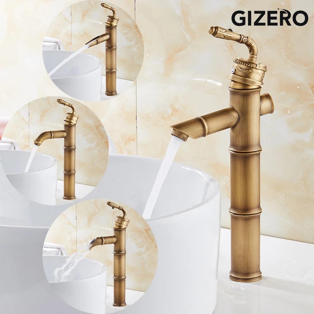 Antique Brass Bamboo Design Bathroom Basin Faucet Sink Tall Water Mixer Taps New