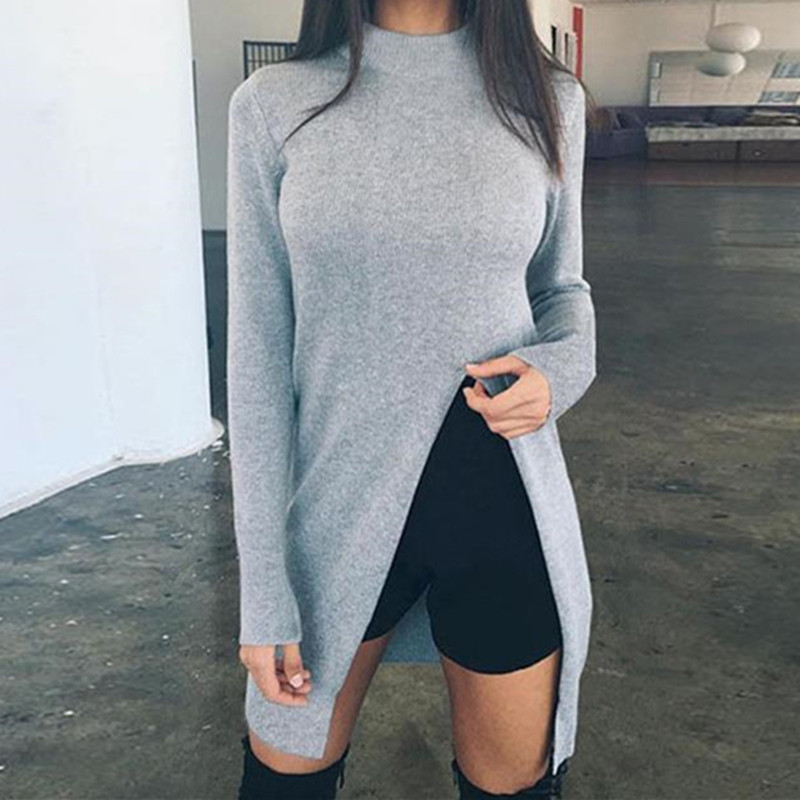 Fashion Sweater Blouse Women Long Sleeve Top Knitted Sweaters Pullovers High Split Hem Casual Knitwear Solid Women'S Clothing