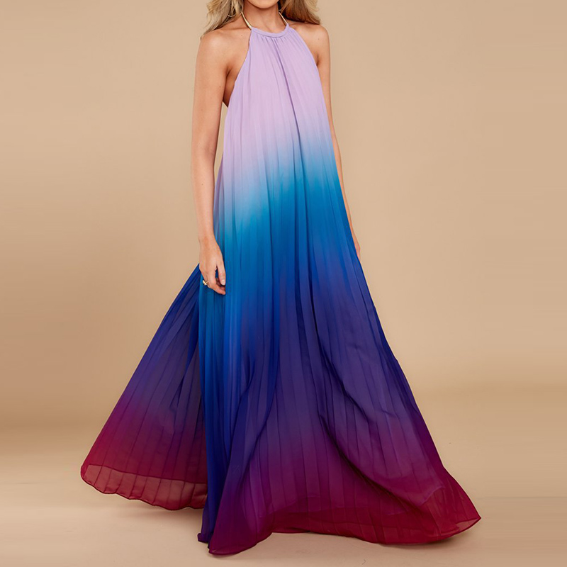 756f078b737 Buy summer dress halter neck pleated long maxi and get free shipping on  AliExpress.com