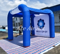 Custom Cool royal blue Inflatable Awning Tent with logo for advertising in Norway
