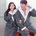 Roupões de flanela Com Capuz Casais Robes Roupões de Inverno Para Mulheres Dos Homens do Sexo Feminino das Mulheres nightgowns Kimono Robe Roupa Em Casa