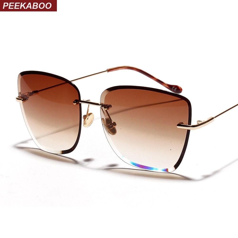 Peekaboo gradiente quadrado sem aro óculos de sol feminino vidro transparente 2019 retro sem moldura óculos de sol para mulher marrom azul uv400