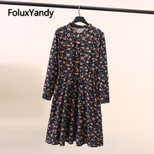 Floral Dress Prairie Chic V-neck Long Sleeve Plus Size Women A-line Knee Length Vestidos SWM1311