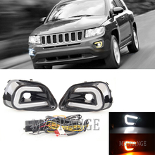 2Pcs LED Car-Styling DRL Daytime Running Light White+Yellow Turn Signal Light for Jeep Compass 2011 2012 2013-2016 Day Light цена в Москве и Питере