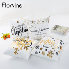 45x45cm Polyester Christmas Pillow Case Merry Decoration for Home Ornaments Deer Santa Claus Happy New Year