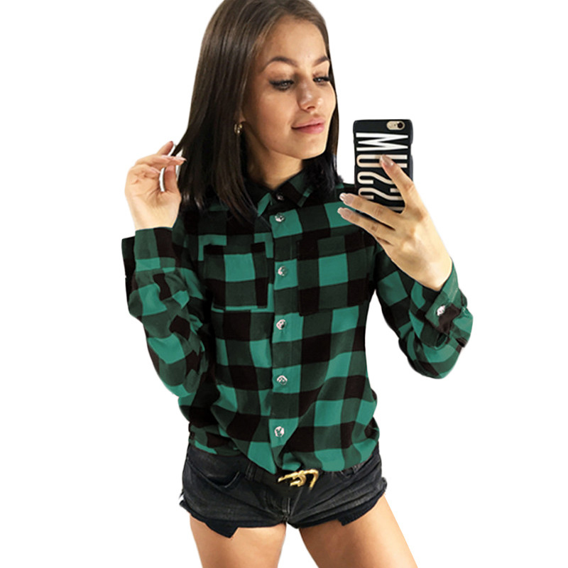 Shirts Girls 2019 Traditional Plaid Workplace Women Shirt Inexperienced Purple Flip-down Collar Lengthy Sleeve Blouses Plus Dimension Tops Clothes Lady Blouses & Shirts, Low cost Blouses & Shirts, Shirts...