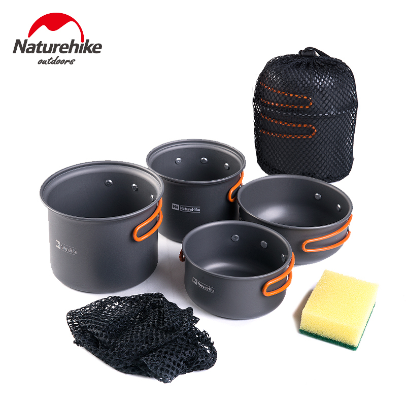 Naturehike Outdoor Camping Cookware Portable Picnic Cutlery Backpacking Utensils Four Combination Tableware Bowl Pot Pan Set