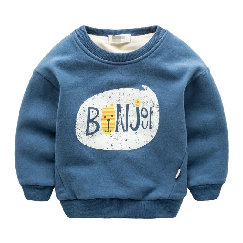 2016 New Winter Kids Plus velvet sweatshirts Thick cotton Fashion Baby Boys girls T shirt Warm Cashmere children clothes hoodies