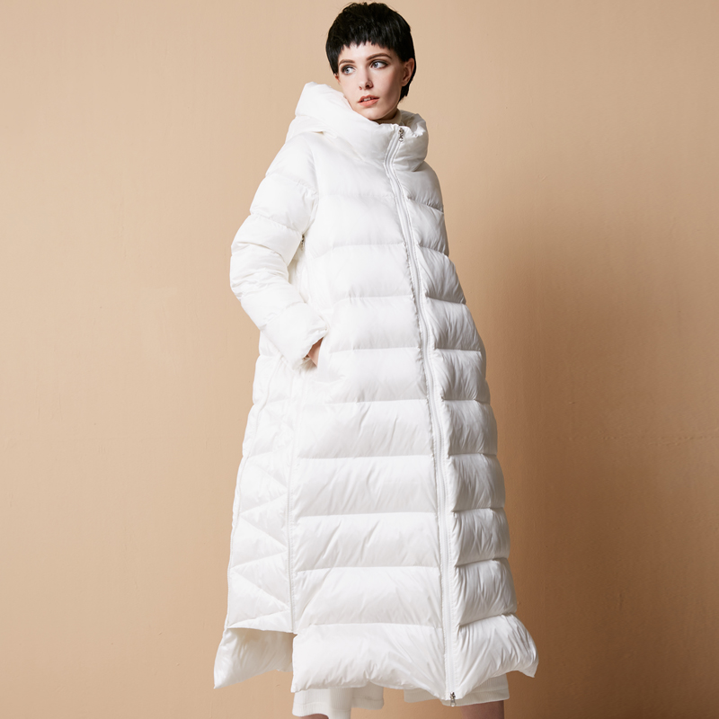 2019 New Arrival Long Solid Covered Button Wide waisted Standard Full White Duck   Down     Coats