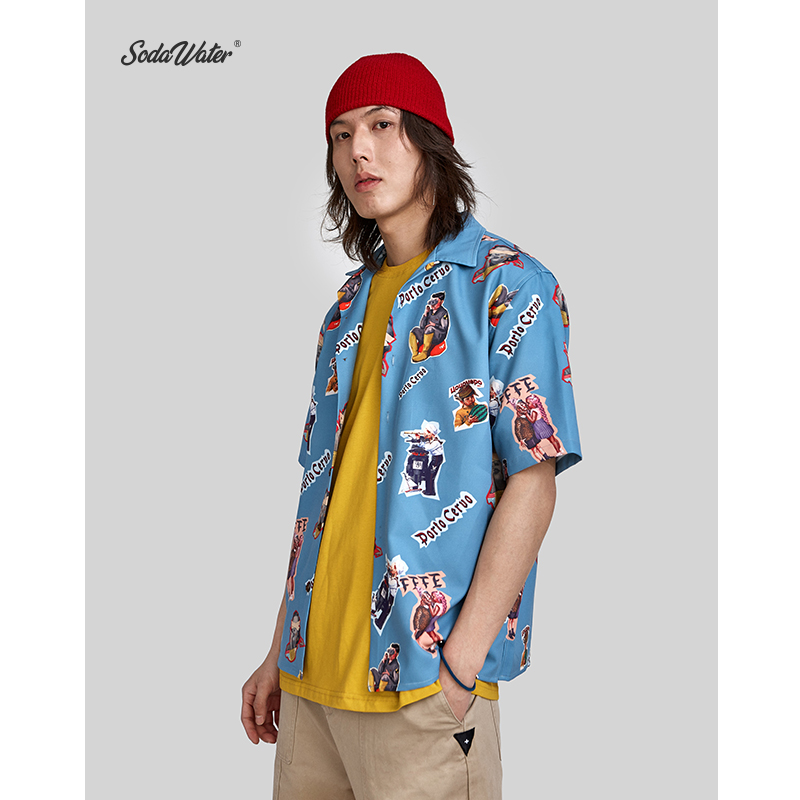 SODA WATER Creative Print Shirt 2019 New Arrival Turn down Collar Shirts Loose Fit Streetwear Short Sleeve Shirt Summer 9220S