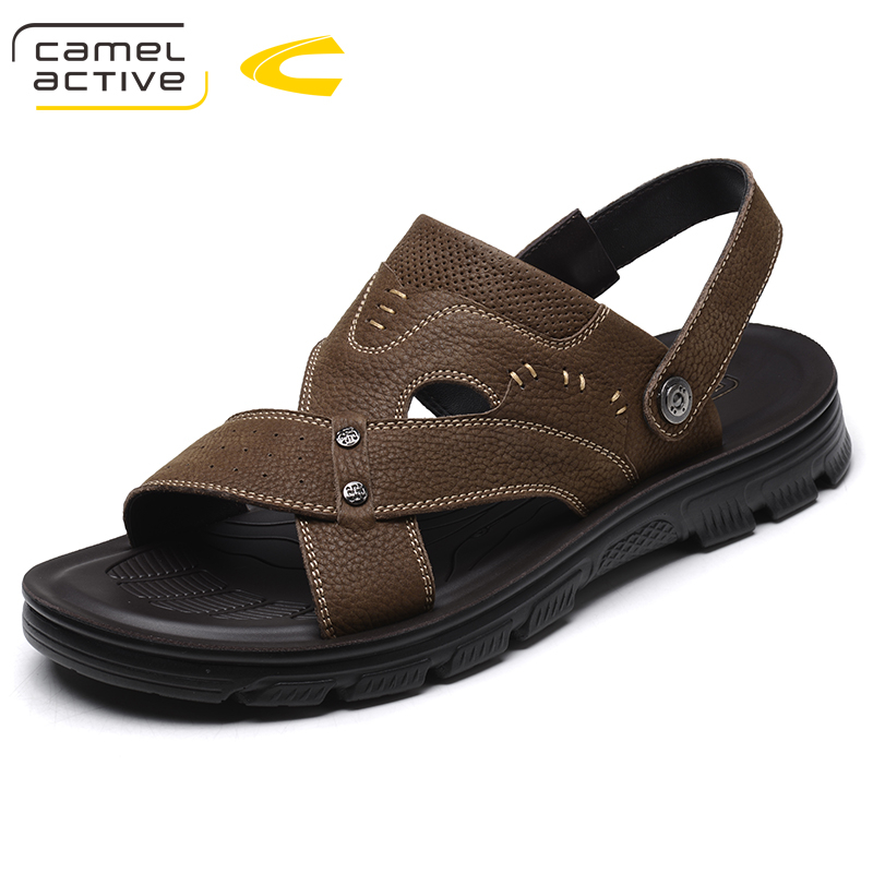 Camel Active Men Sandals Genuine Leather Fashion Summer Shoes Men Slippers Breathable Men's Sandals Causal Shoes Leather 18067 все цены