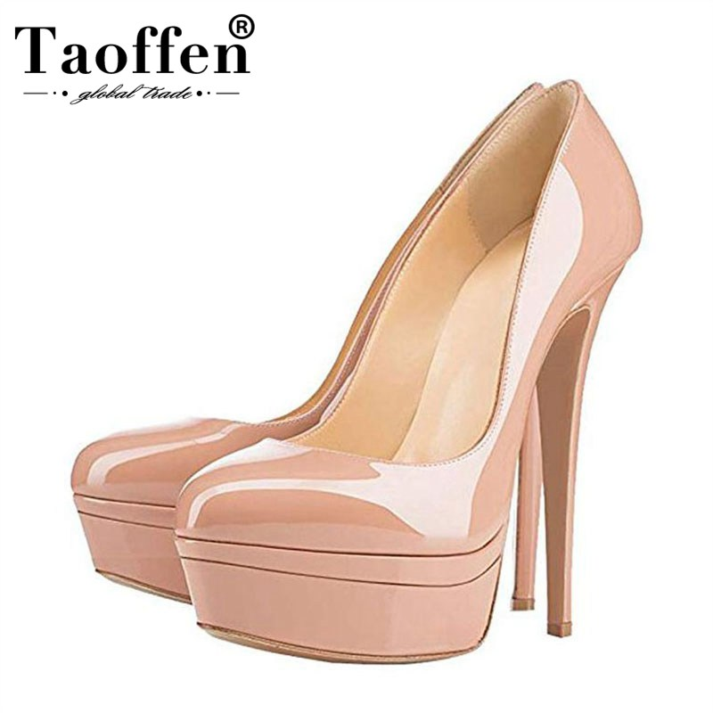 Taoffen Patent Leather 14 16cm High Heels Pumps Party Office Lady Platform Pumps Round Toe Spring