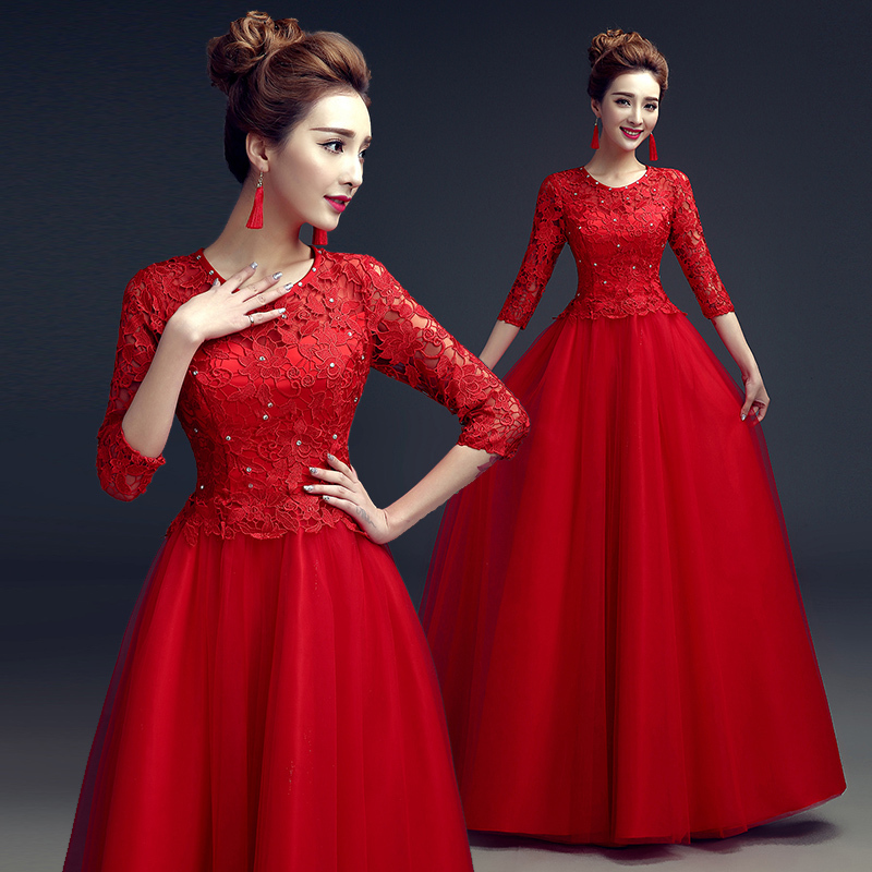 2015 New Design Elegant O neck Long Sleeve Prom Dresses Red Lace And ...