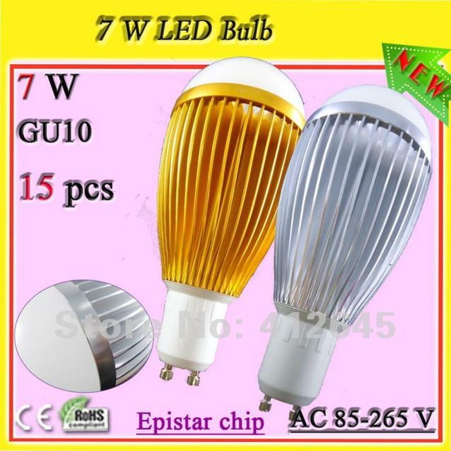 high quality silver/ golden aluminum GU10 socket 7w warmweiss lampen_free shipping