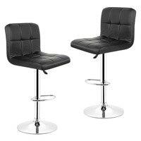 JEOBEST 2PCS Set Kitchen Bar Stools Chair Leather Mini Bar Adjustable Bar Chair Breakfast Bar Stool