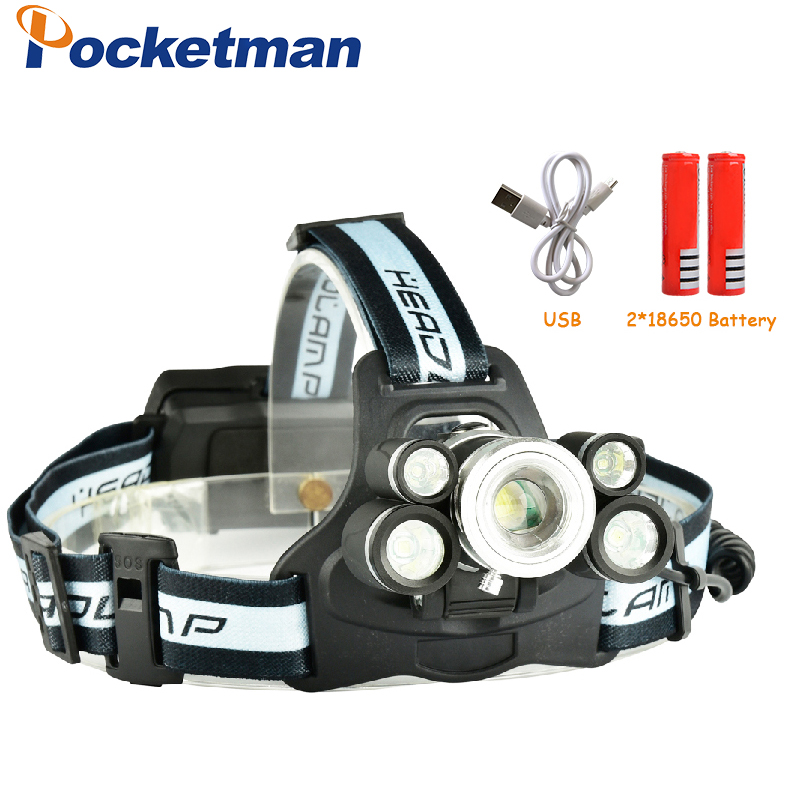 LED Headlight Rechargeable Zoomable Headlamp Outdoor Camping Multi-purpose Bike LED Head Light For Batteries And Charger 35