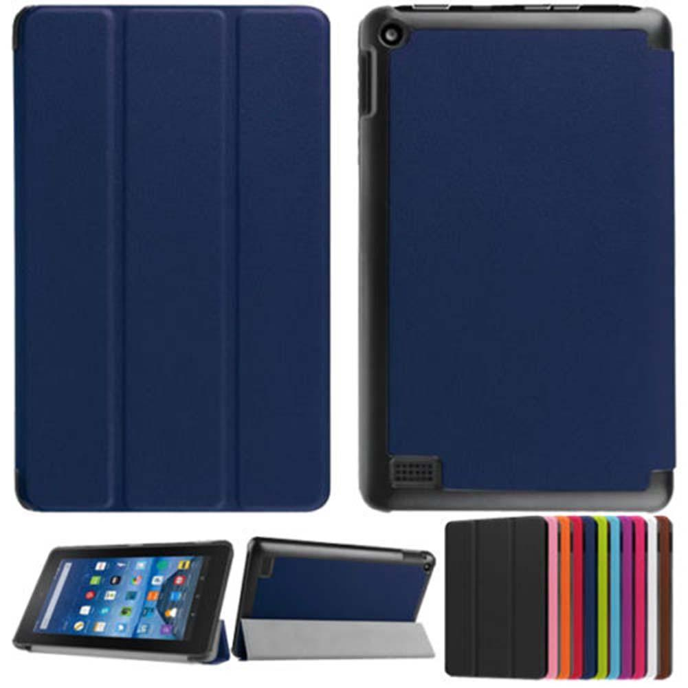Blue Ultra-Slim Leather Case Stand Cover for Amazon Kindle Fire HD 7 Tablet R case for tablet tablet protection cover for amazon kindle fire hd 8 hd8 2016 8 0 inch tablet shockproof case for amazon fire hd8 2016 kids baby safe back cover fundas