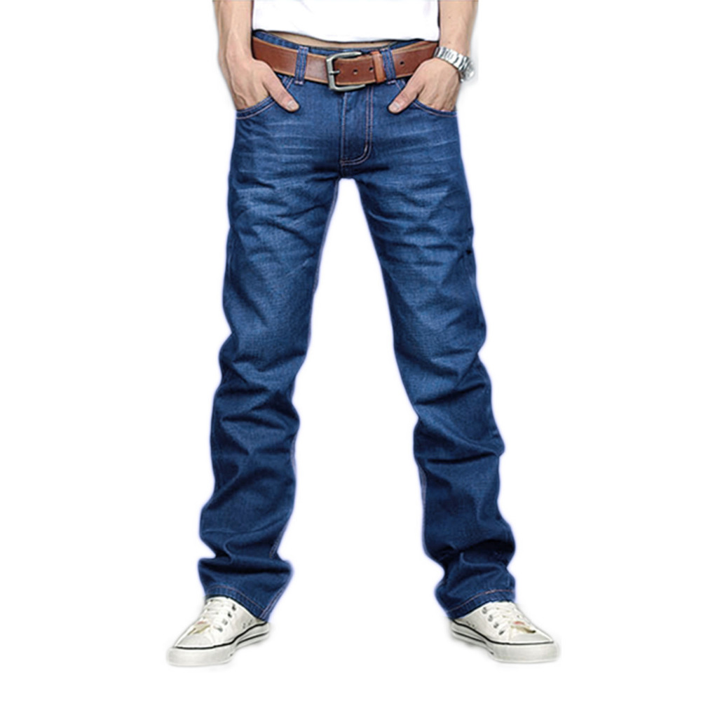 2017 New Designer Korea Men's Jeans Slim Fit Classic denim Jeans Pants Straight Trousers Leg Blue Big Size 30~34 2017 new designer korea men s jeans slim fit classic denim jeans pants straight trousers leg blue big size 30 34