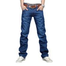 2017 Новый Конструктор Корея мужские Джинсы Slim Fit Классические джинсовые Джинсы Брюки Прямые Брюки Ноги Синий Большой Размер 30 ~ 34