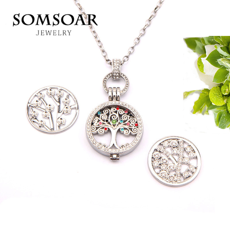 все цены на Somsoar Jewelry Silver My Coin Necklace with 1 set Tree of life Pendant and 2pcs extra Newest Coin Disc as Gift