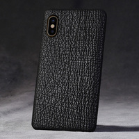 luxurious Cover For Apple iPhone X Xs Max XR Back Case Genuine Shark Skin Leather Mobile Phone Rear Cover