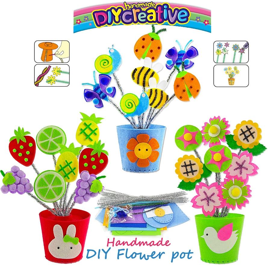 DIY Bunte Nähen Kit für Kinder Anfänger 3 Verschiedene Design Nähen Muster Nicht-woven Blume topf Kunst & Handwerk pädagogisches Spielzeug